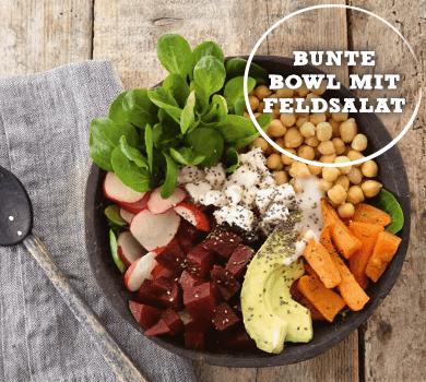Bunte Bowl mit Feldsalat